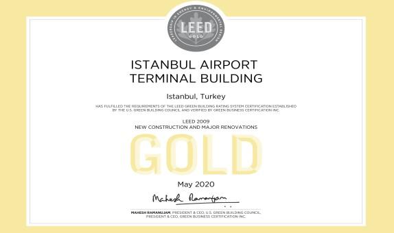 İstanbul Havalimanı Terminali,  'LEED Altın' Sertifikası Aldı
